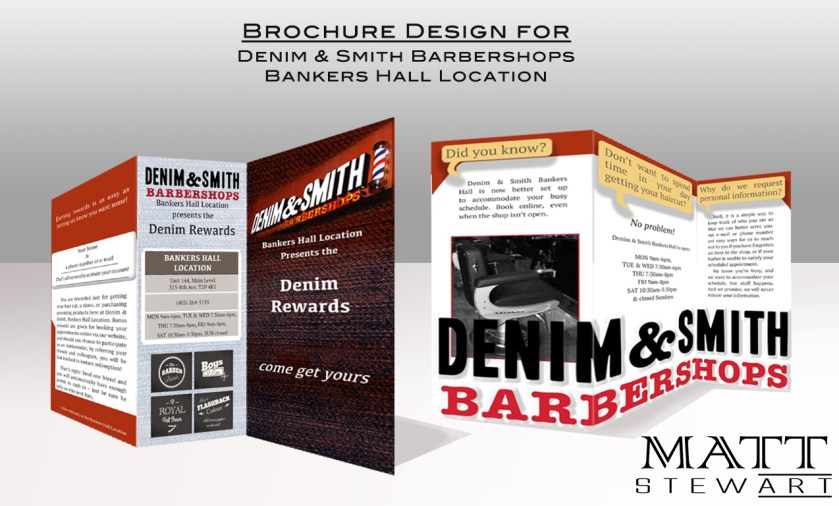 Denim & Smith Barbershops brochure mockup
