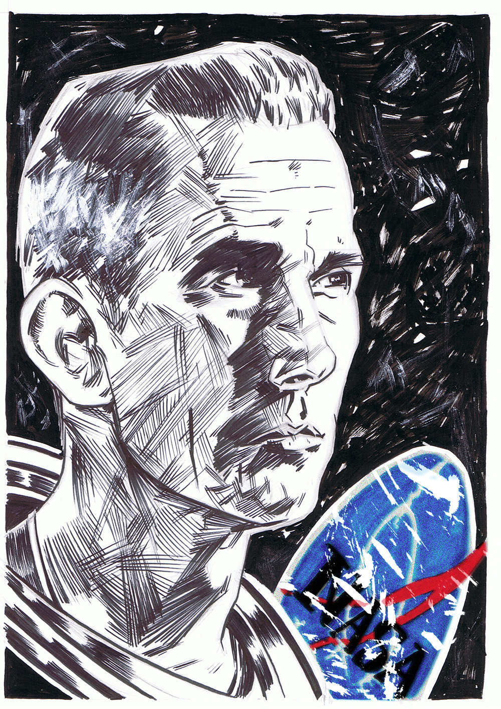 sketch of nasa astronaut Eugene Cernan (1934-2017)