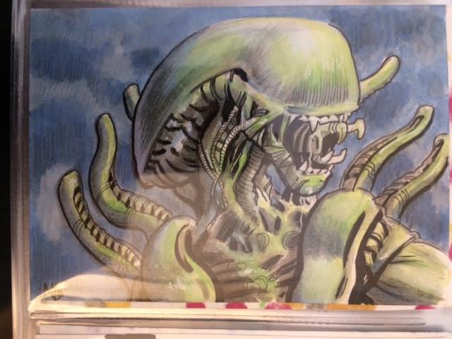 aliens warrior sketch card