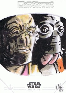 Star Wars Rogue One Series Two sketch card Dr. Evazan and Ponda Baba