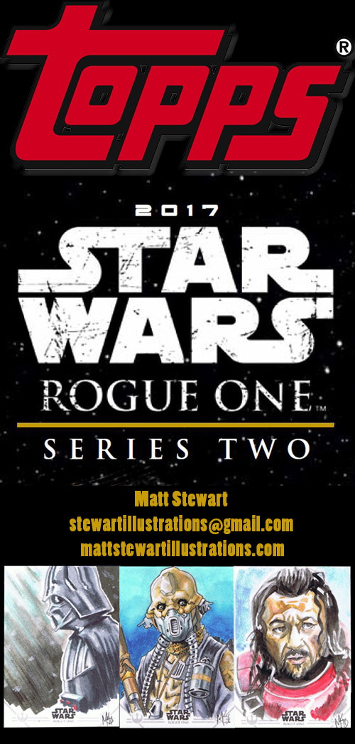 Topps 2017 rogue one series two sketch card advert sheet