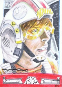 Luke Skywalker as pilot artist return sketch card