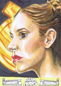 princess leia with medallion artist return sketch card
