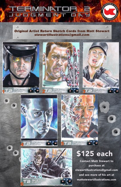 artist return sketch cards of terminator 2 from unstoppable by matt stewart