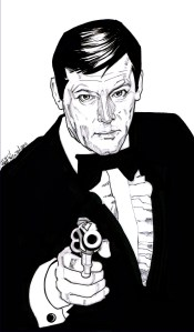 sir roger moore james bond illustration by matt stewart
