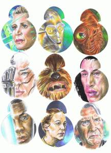 topps star wars journey to the last jedi BB8 shaped sketch cards by matt stewart page 1
