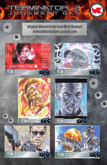Sketch cards of Terminator 2 from Unstoppable cards by matt stewart, sheet 2