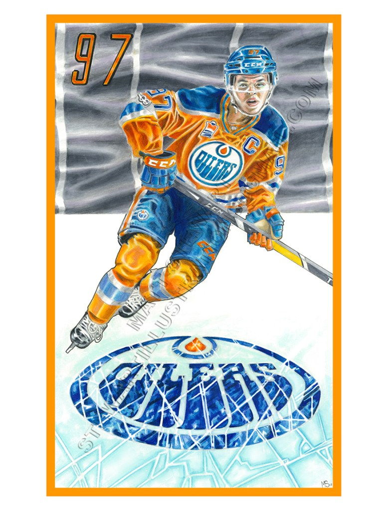 Illustration of Connor McDavid from the Edmonton Oilers that I was commissioned to draw.