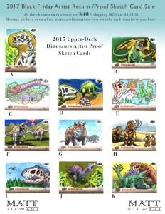 2015 upper deck dinosaurs artist return sketch cards by matt stewart