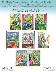 2017 topps mars attacks artist return sketch cards