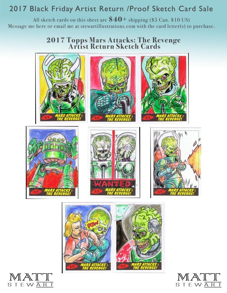 2017 topps mars attacks artist return sketch cards