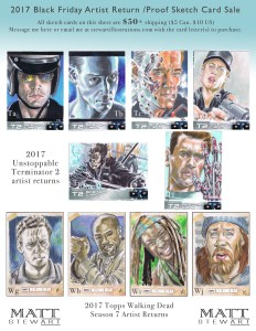 terminator 2 and walking dead artist return sketch cards by matt stewart
