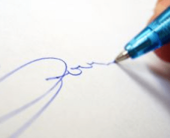 signature on a paper