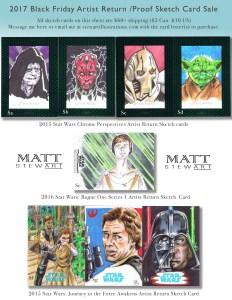 topps star wars artist return sketch cards by matt stewart