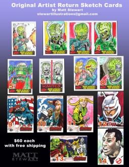 sale artist return sketch cards by matt stewart