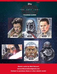 topps 2017 the last jedi sketch card artist returns from matt stewart