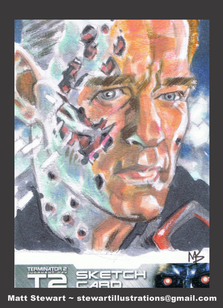 terminator 2 sketch card by matt stewart