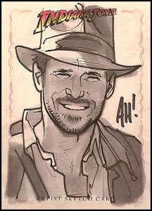 The highly talented Adam Hughes drew this sketch card for the 2008 Indiana Jones trading card set.