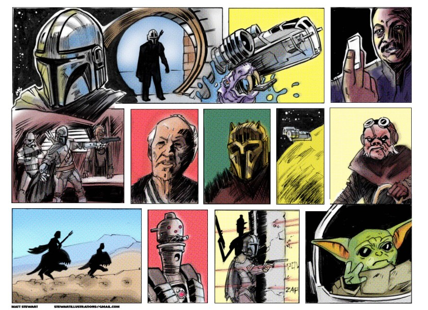 a comic strip of the Mandalorian first episode drawn by matt stewart