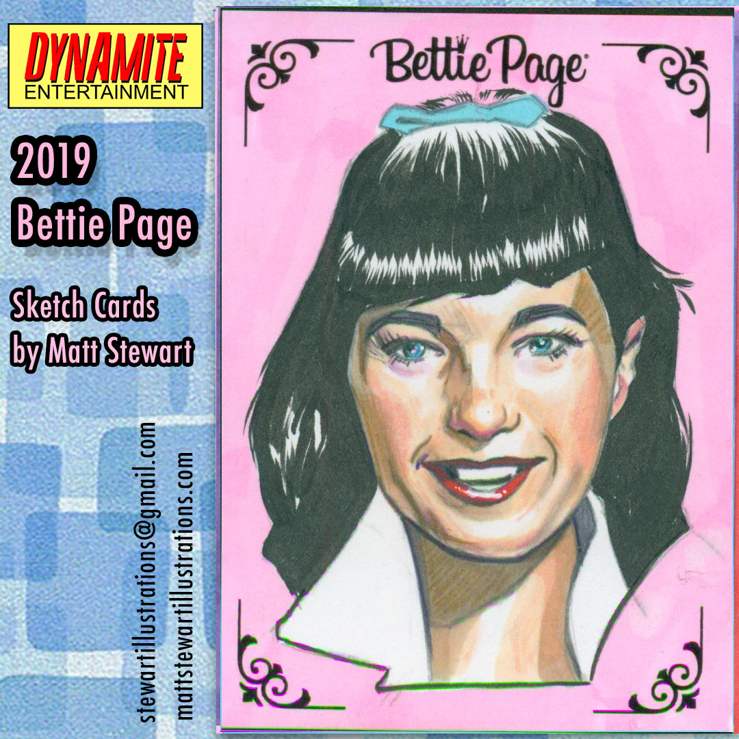 Artwork from the 2019 Bettie Page Trading Card Set
