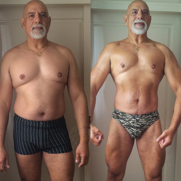 Online personal trainer helping elderly man lose weight