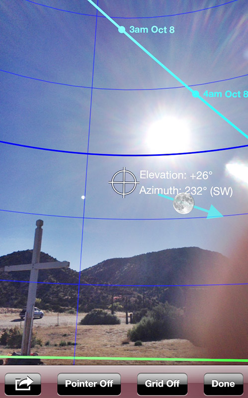 The Moon Seeker app gave me a virtual reality view of where the moon would be using the camera. It just so happened that the sun was in a similar position when I scouted this location. My finger was partially blocking the camera when I did this screenshot - tough to see the iphone screen when pointing into the sun ;)
