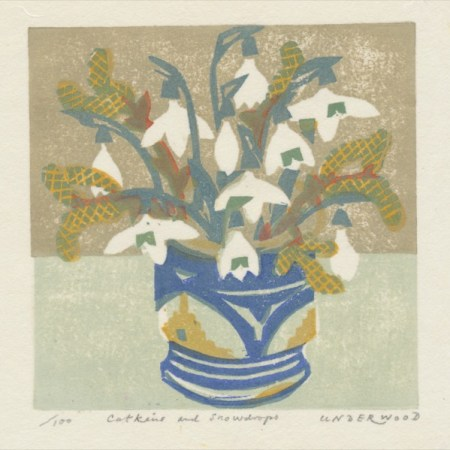 """Catkins and Snowdrops"" woodblock print by Matt Underwood"