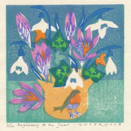 """Beginning of the Year"" woodblock print by Matt Underwood"