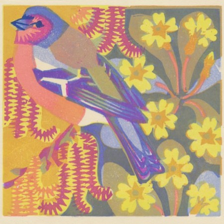 """Catkins and Primroses"" woodblock print by Matt Underwood"