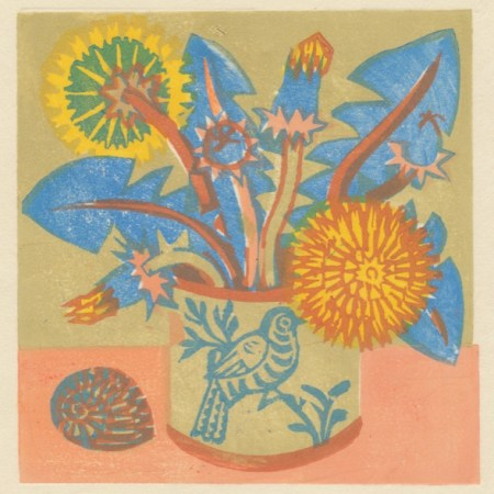 """Dandelions"" woodblock print by Matt Underwood"