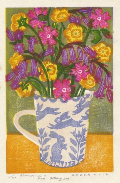 """Flowers in a Bell Pottery Jug"" woodblock print by Matt Underwood"