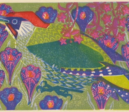 """Green Woodpecker"" woodblock print by Matt Underwood"