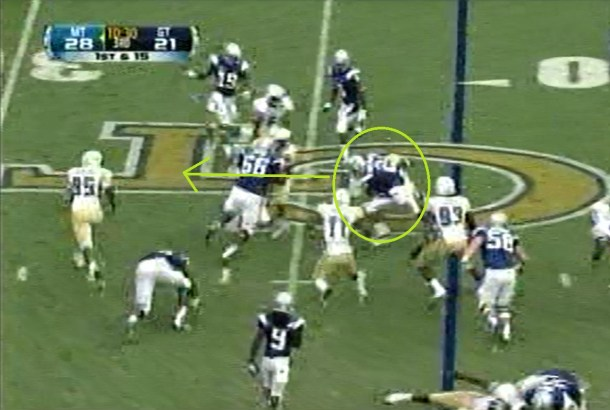 Two yards later, Cunningham is dragging the OLB across the line of scrimmage and picking up momentum.