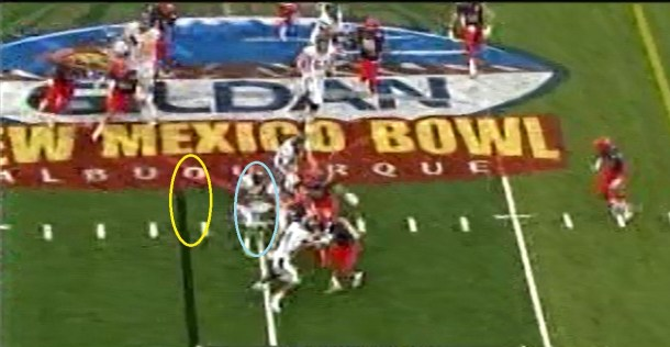 The yellow circle is where Jefferson was and where he needed to be to make this cutback.
