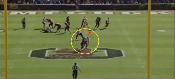 Cunningham turns outside to track the ball but the pass will be arriving over his inside shoulder.