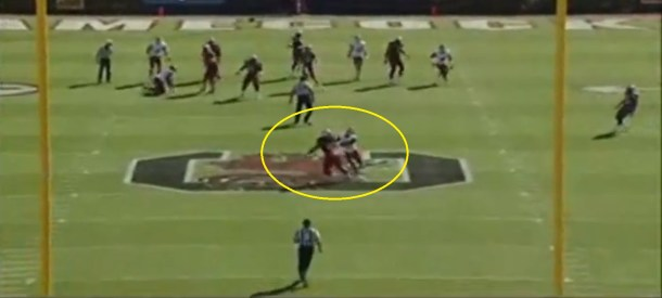 Cunningham turns inside and across the face of his coverage to track the ball.