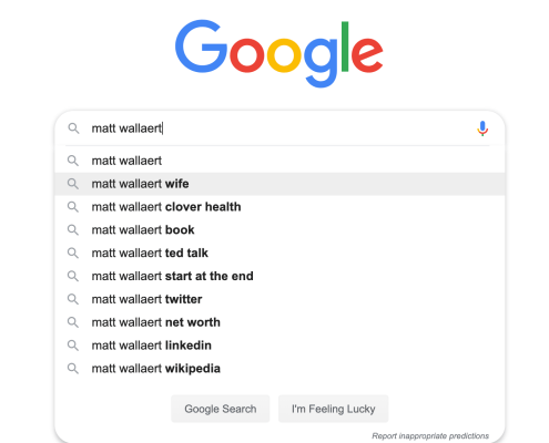 Google suggestions for the term Matt Wallaert