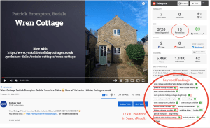 YouTube SEO - example of video ranking for 12 keywords