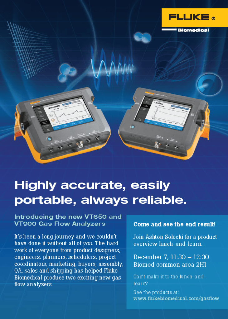 Fluke Biomedical New Product, VT650/VT900 Announcement Card