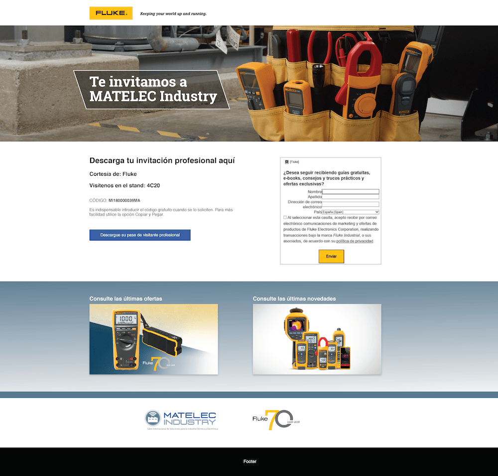 Matelec Spain Web Page, Desktop