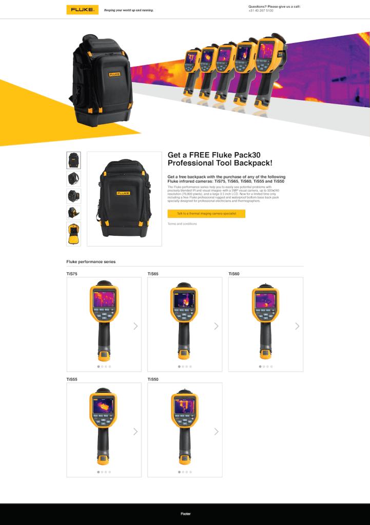TiS50/TiS75 + Free Backpack Promo Web Page, Desktop