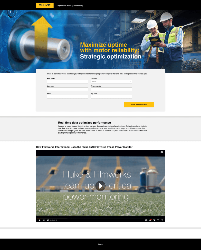 Motor Reliability Campaign Landing Page, Engineer