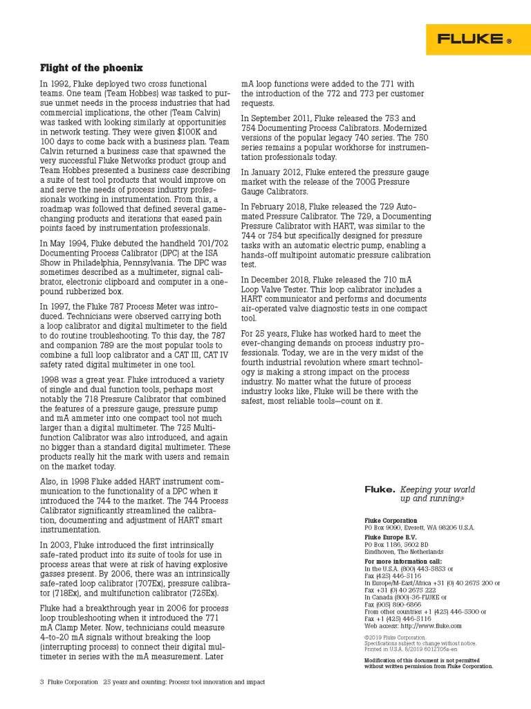 Fluke Process Tools 25 Years White Paper