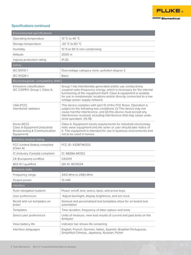INCU II Datasheet