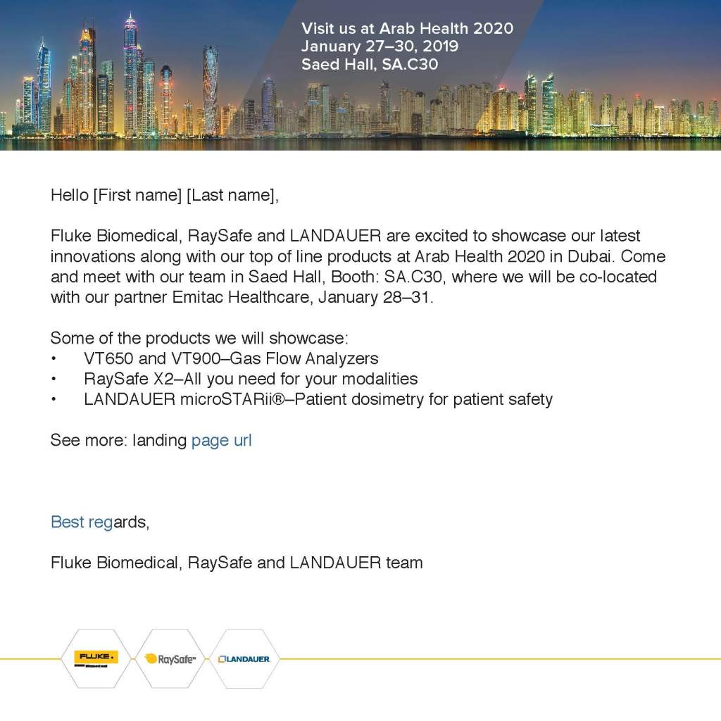 Arab Health 2020 Email
