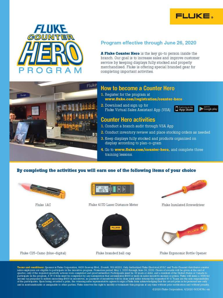 Fluke Counter Hero Program Flyer