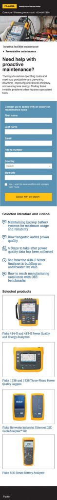 Fluke Industrial Facilities Maintenance Microsite