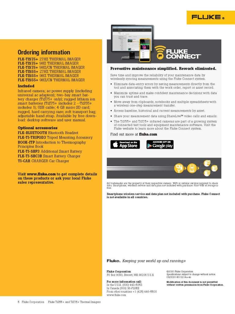 Fluke TiS75+ and TiS55+ Datasheet