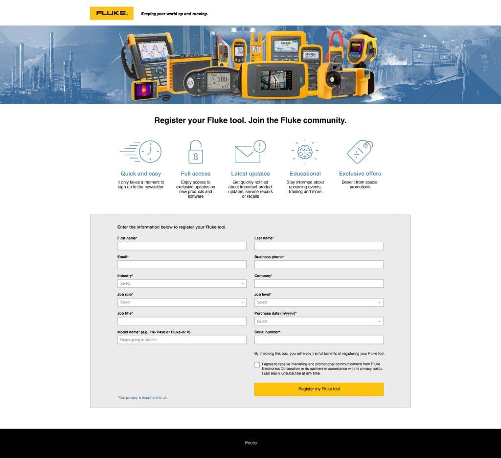 Fluke Europe Product Registration Web Page