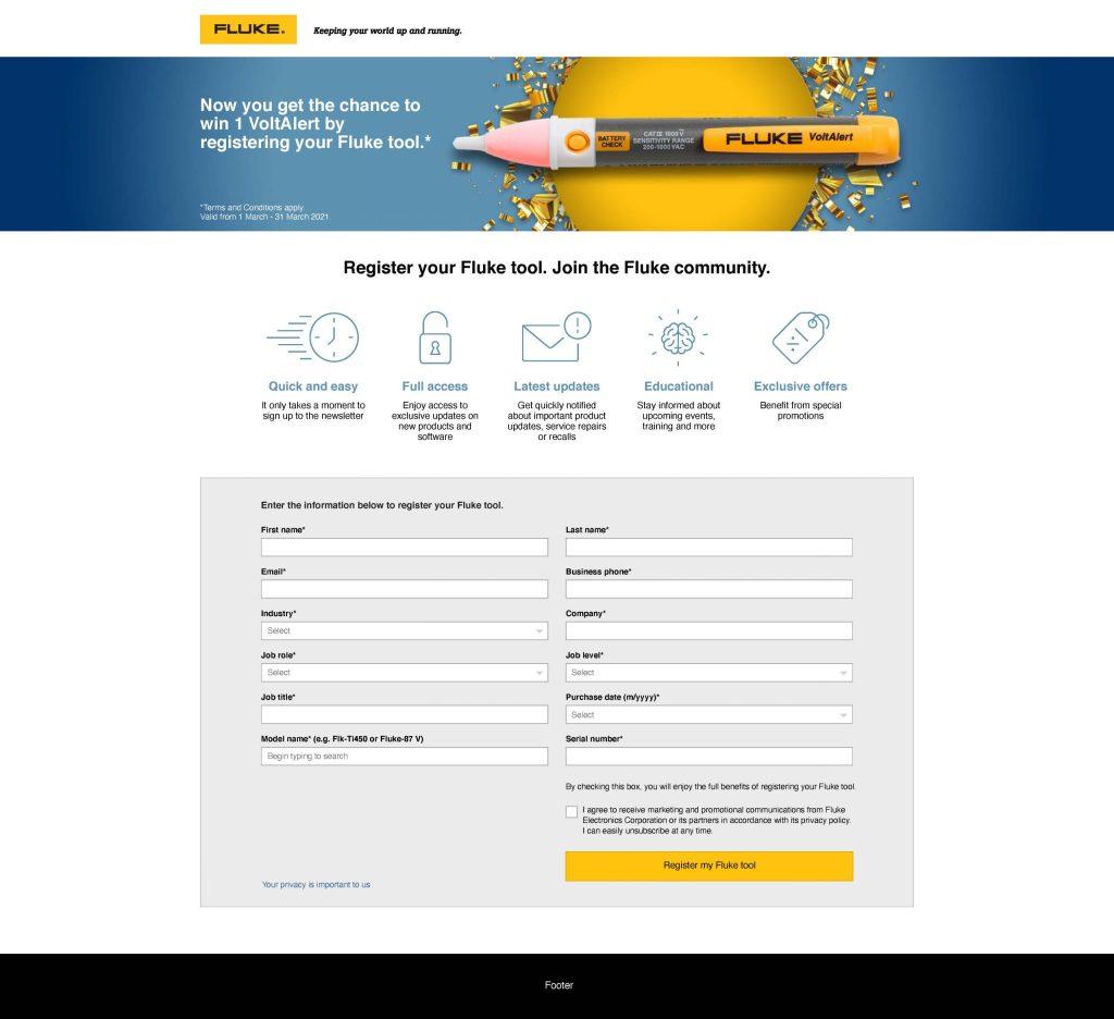 Fluke Europe Product Registration Promo Web Page